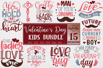 Valentine's Day Kids Bundle Of 15 SVG files for cutting machines Cricut Silhouette SVG PNG Valentine's Day Baby SVG SVG RoseMartiniDesigns