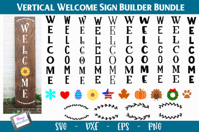 Vertical Welcome Sign Bundle - Sign Builder Bundle SVG Stacy's Digital Designs