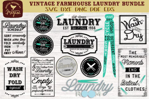 Vintage Farmhouse Laundry SVG Bundle SVG DXF SVG Tinker & Teal