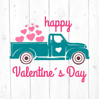 Vintage Truck Valentines Day Svg, Truck Valentines Svg, Valentines Day Svg, Cricut and Silhouette Files SVG kaoticsvgdesigns