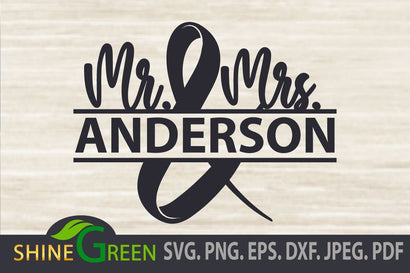 Wedding Monogram SVG DXF EPS PNG - Frame SVG Shine Green Art