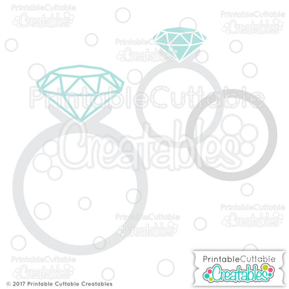 Wedding Rings SVG Printable Cuttable Creatables