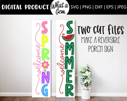 Welcome Sign SVG Bundle | Reversible Sign | Double Sided Sign | Welcome Spring Sign SVG | Welcome Summer Sign SVG | Spring Porch Decor svg SVG What A Gem SVG