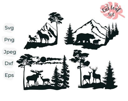 Wildlife scene svg, wild animals cut file for laser, dxf files for plasma, forest svg, bear svg, deer svg, elk svg, wolf svg, hunting svg SVG CutLeafSvg