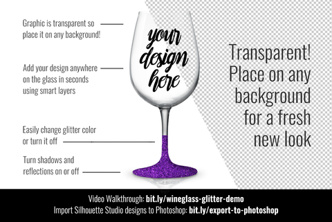 Wineglass Mockup Template PSD - with glitter Mock Up Photo Sarah Design