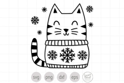 Winter Cat SVG, Cat in Sweater svg, Christmas Cat svg SVG Lynda M Metcalf