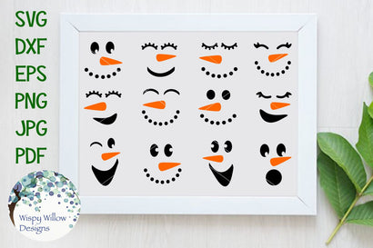 Winter Snowman Faces SVG Wispy Willow Designs