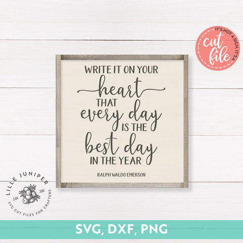 Write it on Your Heart SVG | Motivational svg | Rustic Sign Design SVG LilleJuniper
