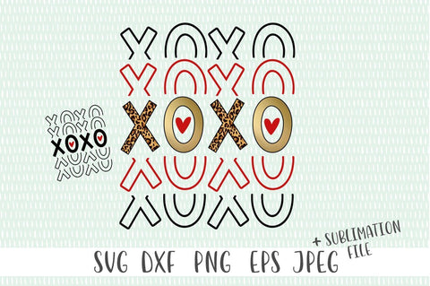 XOXO Valentines Day Sublimation Design SVG Simply Cutz