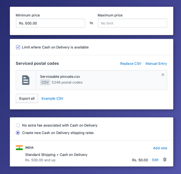configuring cash on delivery on shopify