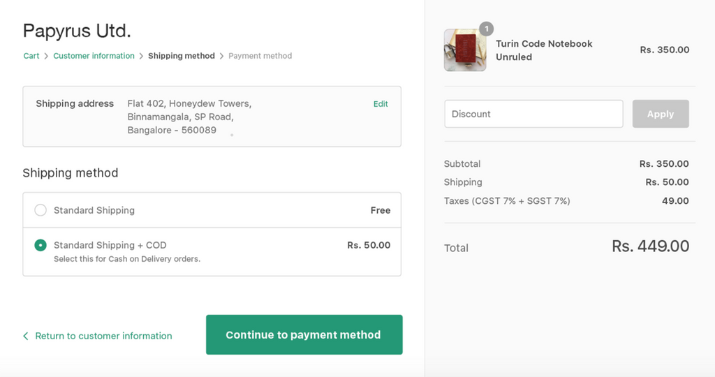 cash on delivery on shopify