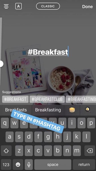 hashtags in stories