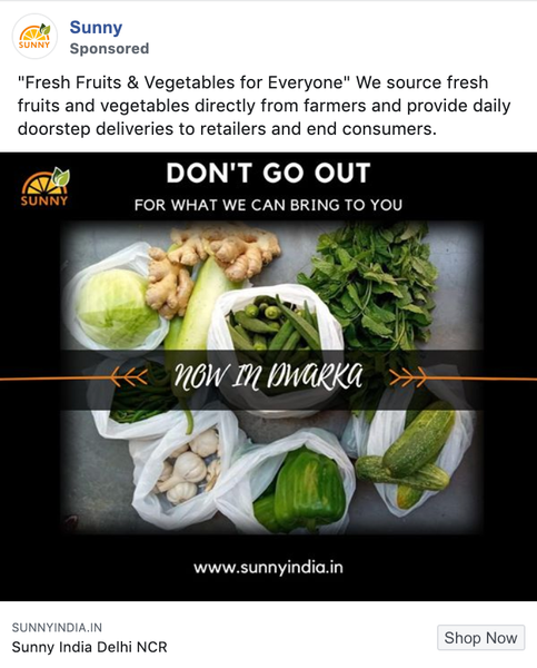 sunny india facebook ad online grocery store
