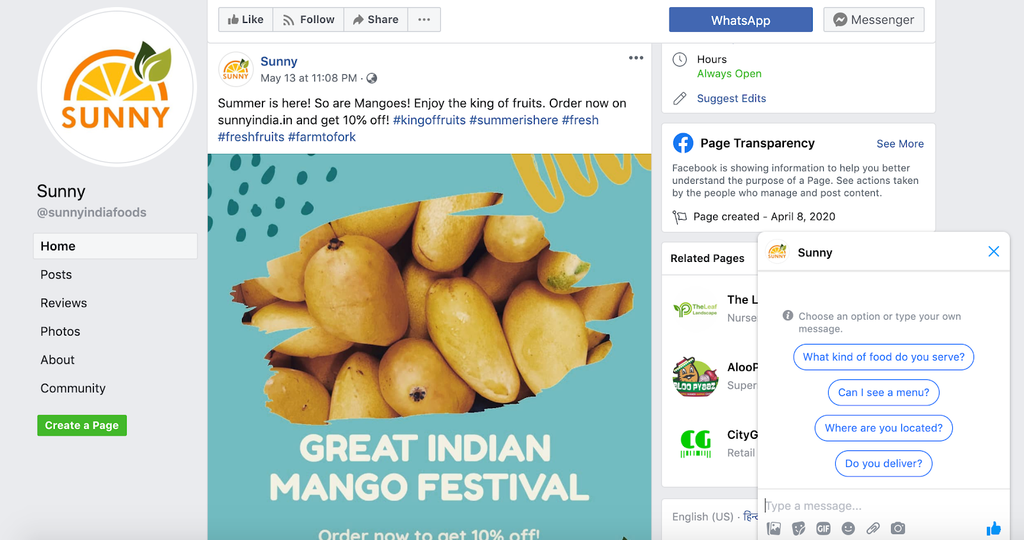 facebook page sunny india online grocery store
