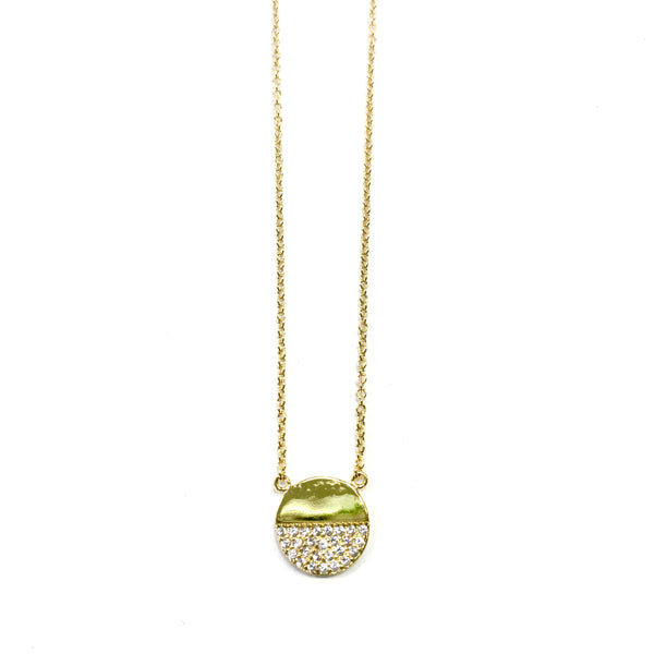 Half Pavé Disc Necklace