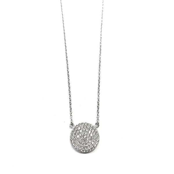 Medium Pavé Disc Necklace