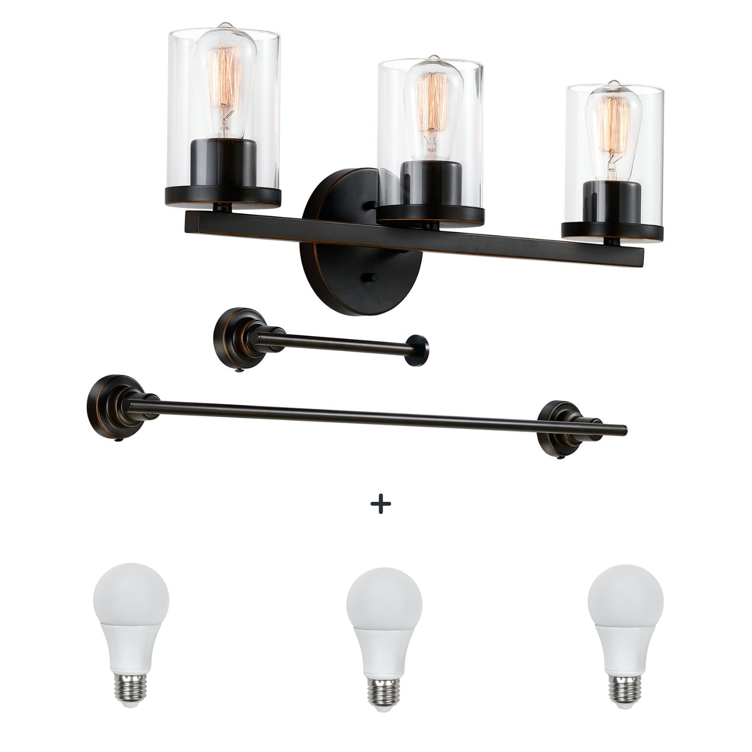 QPlus Bathroom Vanity Wall Light Fixture, 3 Lights in E26 Base & Clear Glass Sconces with Towel Bar & Toilet Paper Holder Accessories - Bronze Finish + A21 LED Bulbs Free