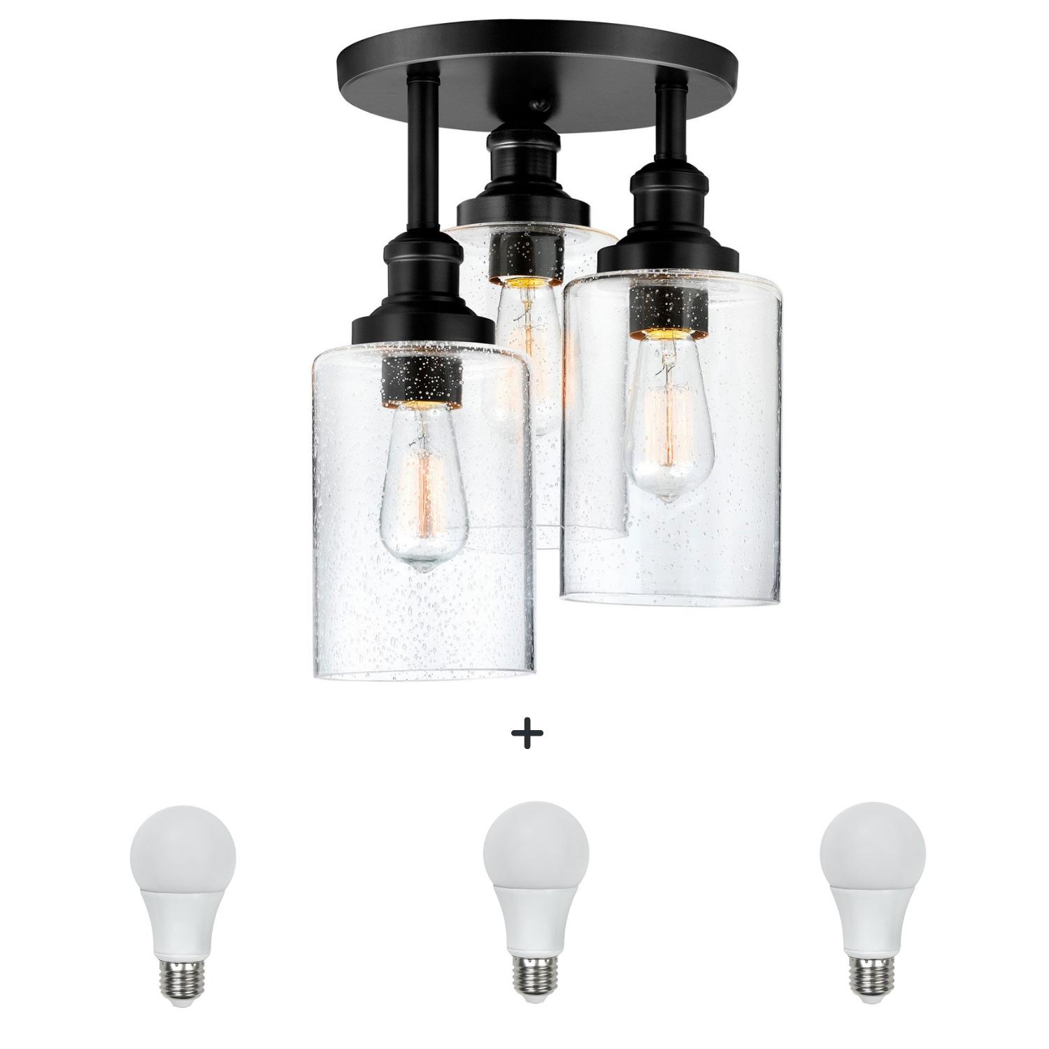 QPlus Trilogy Semi Flush Mount Ceiling Light Hanging Metal, Seedy Glass Fixture with 3 E26 Bulb Base in Bronze & Black Finish + 3 A21 LED Bulbs Free