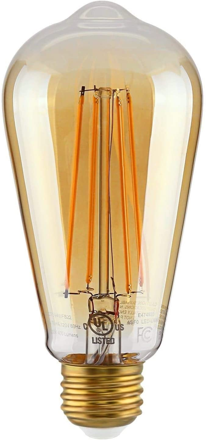 QPlus ST19 Filament LED Light Bulb, Dimmable, Amber Glass Vintage Edison Style - 4.8 Watts (2Pack)