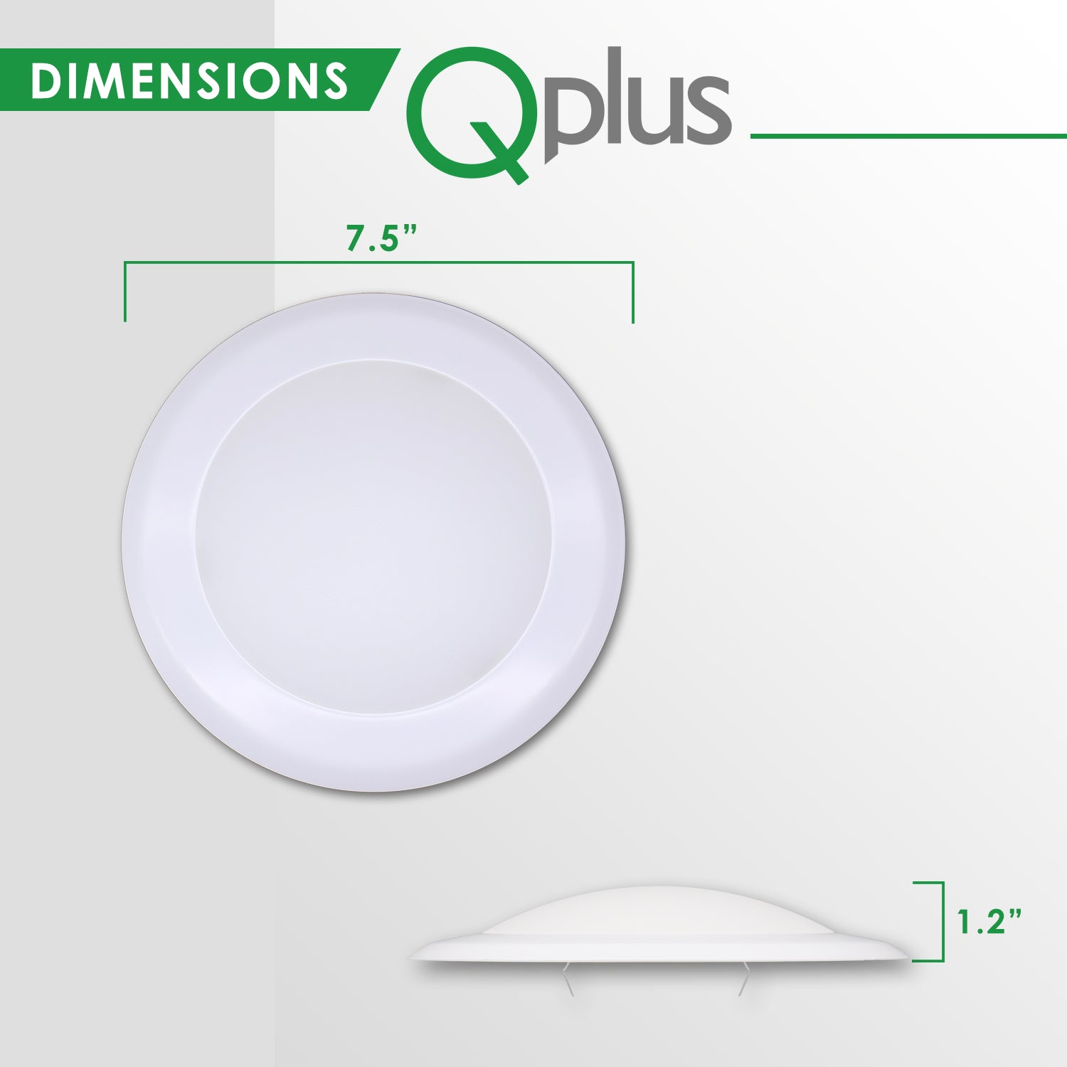 QPlus 7.5 Inch Round LED Dimmable Ceiling Disk Light 15W/1050 Lumens 5000K