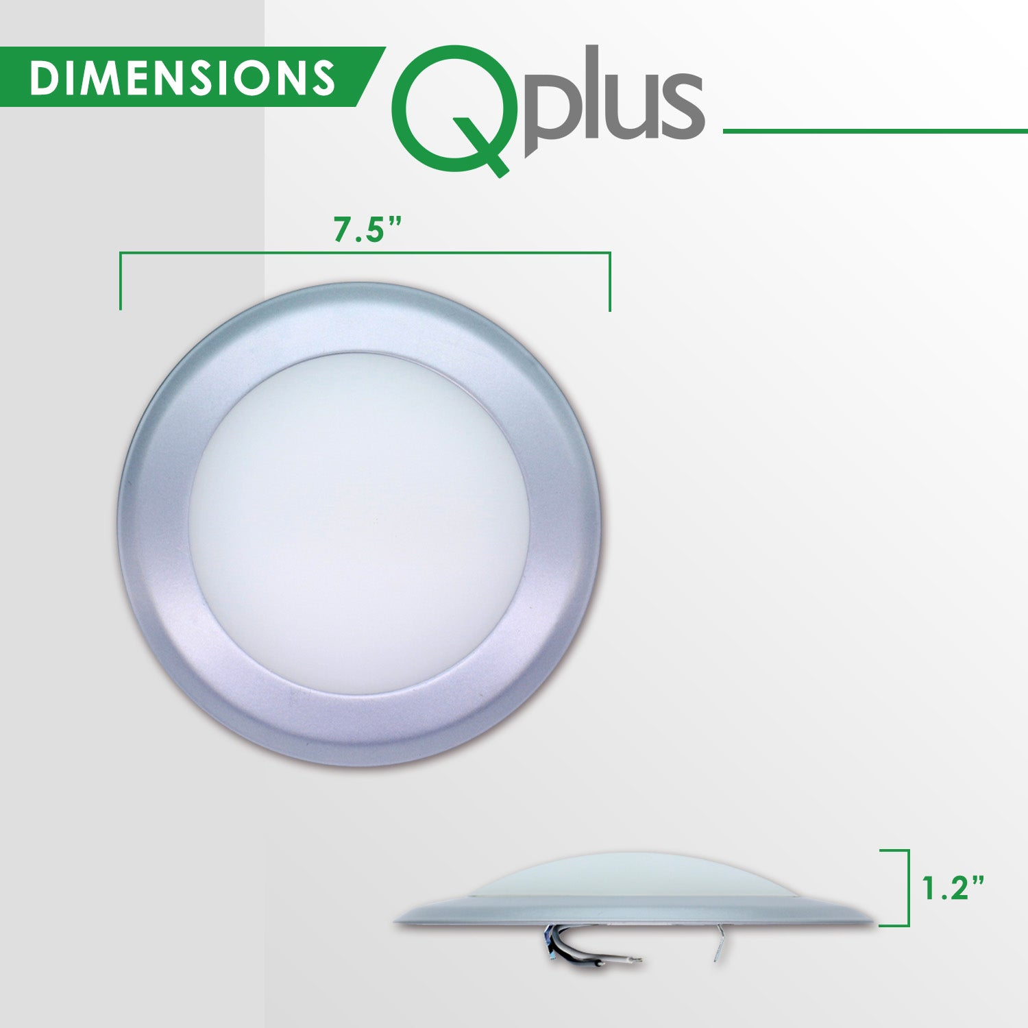 QPlus 7.5 Inch Round LED Dimmable Ceiling Disk Light 15W/1050 Lumens 3000K in Bronze, White & Silver Metal Trims