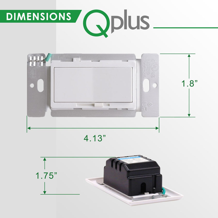 QPlus LED 3 Way Dimmer Switch with Wall Plate - cUL & FCC Certified