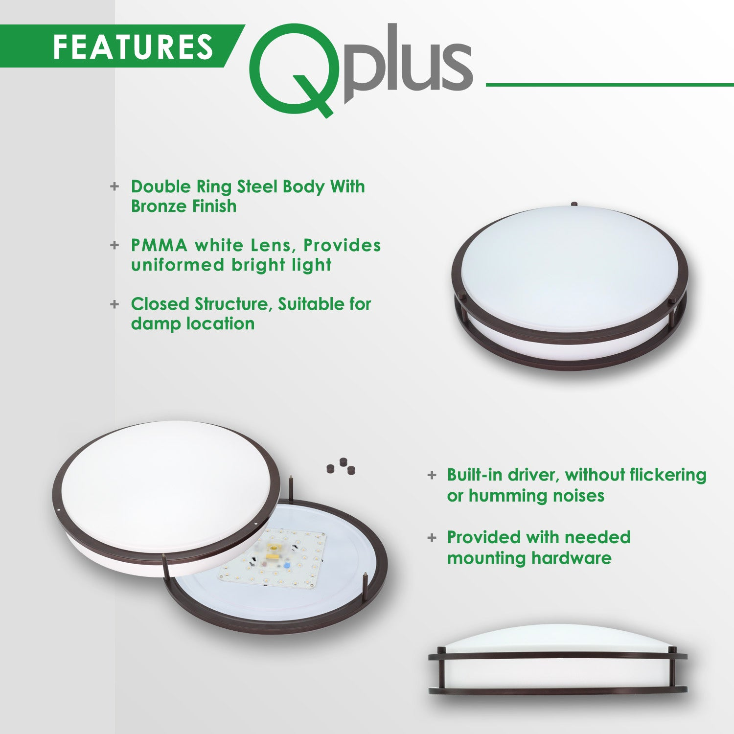 QPlus 12 Inch LED Architectural Flush Mount 20 Watts - Bronze