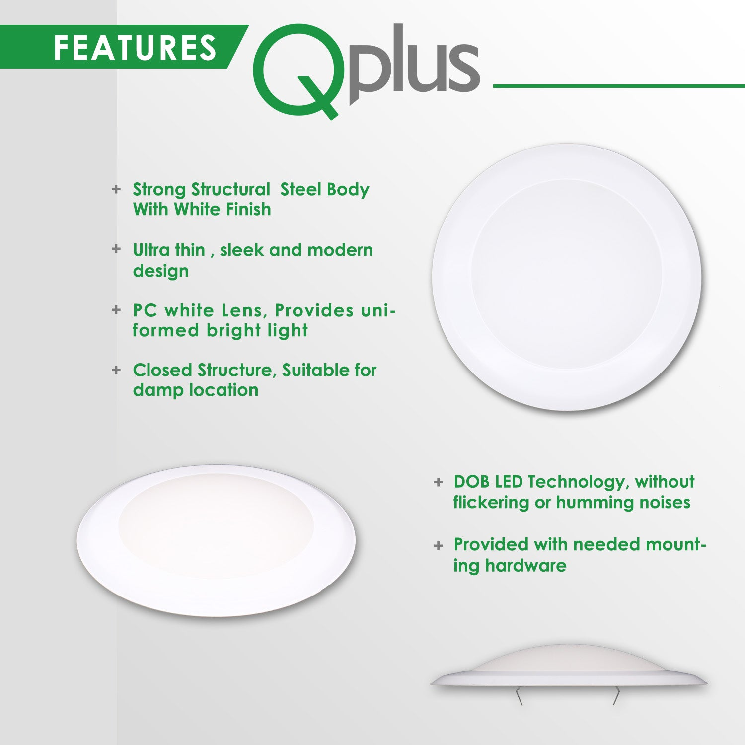 QPlus 7.5 Inch Round LED Dimmable Ceiling Disk Light 15W/1050 Lumens 4000K in Bronze, White & Silver Metal Trims