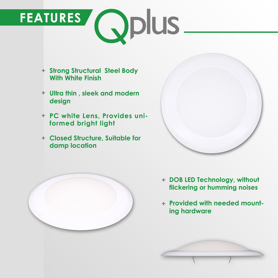 QPlus 7.5 Inch Round LED Dimmable Ceiling Disk Light 15W/1050 Lumens 4000K