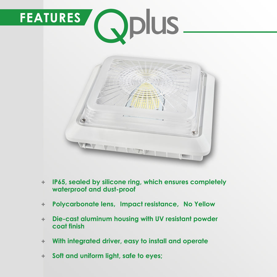 QPLUS LED Garage/ Parking Canopy Light in 40W & 55W - 5000K Day Light - IP65 /cULus 120V - 277Volts