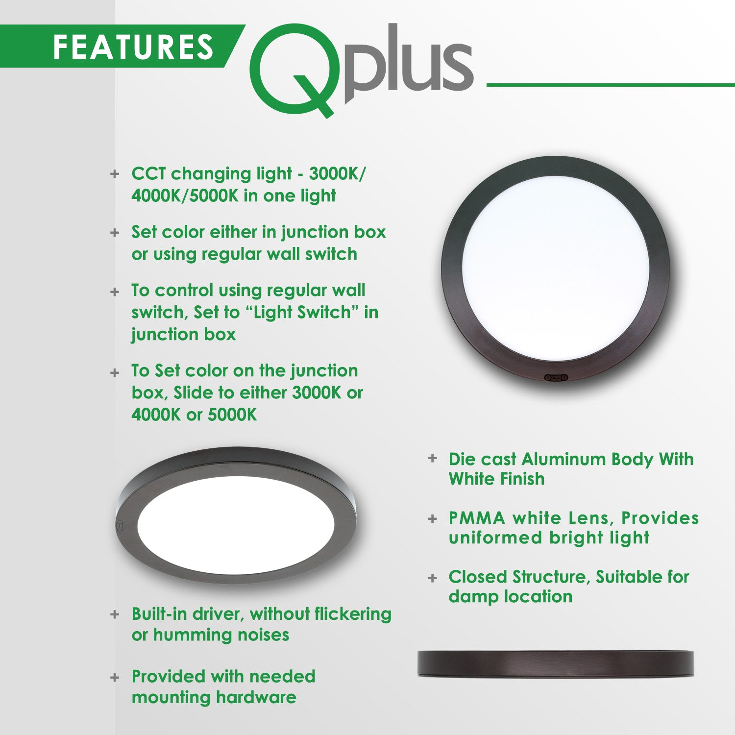 QPlus 11 Inch 4S Color Changing Flat Flush Mount LED Ceiling Fixture 12.5W, 3000K - 5000K (Bronze)