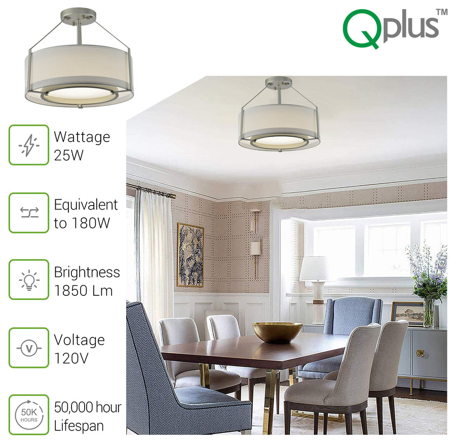 QPlus Gala 5CCT Color Changing LED Semi Flush Mount Ceiling Light Fixture with Fabric Drum Shade for Bed, Dine & Living Room