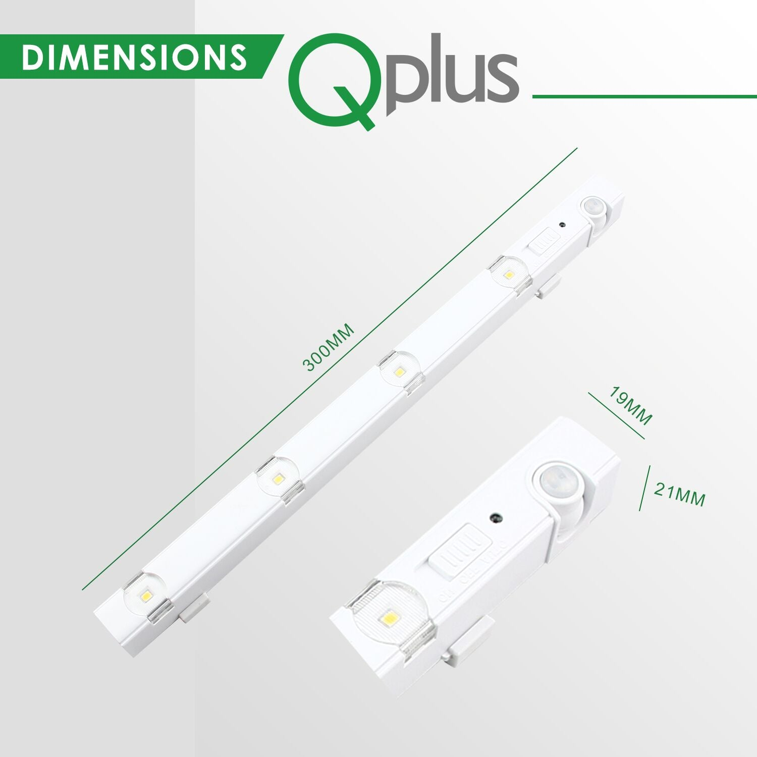 QPlus LED Motion Sensor Under Cabinet/Closet Light Sticks (3000K & 4000K) Set of 3