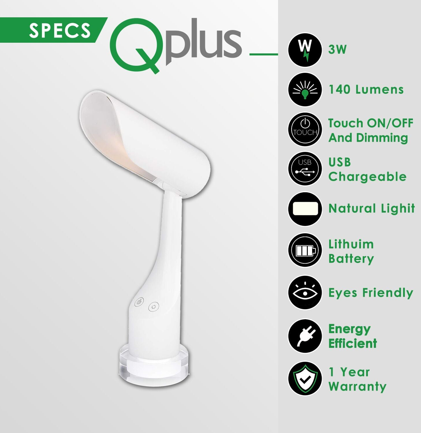 QPlus Rechargeable Cylindrical Table Lamp for Study room - 3 Color Modes & Colorful Light Base