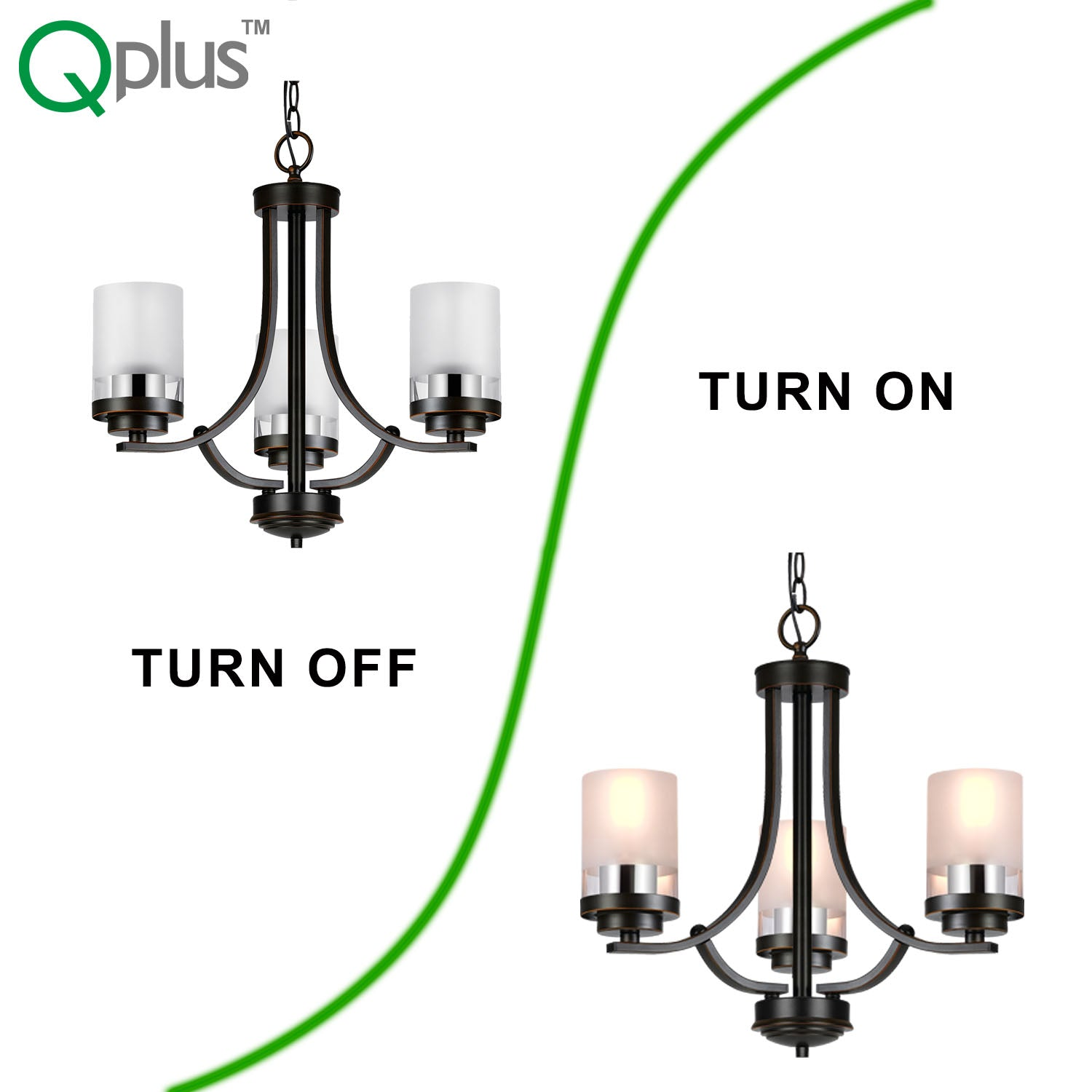 QPlus 3 Light Tulip Chandelier Pendant Lamp with E26 Bulb base & Clear, Frosted Glass Shades - Brushed Nickel / Bronze + 3 A21 LED Bulbs Free