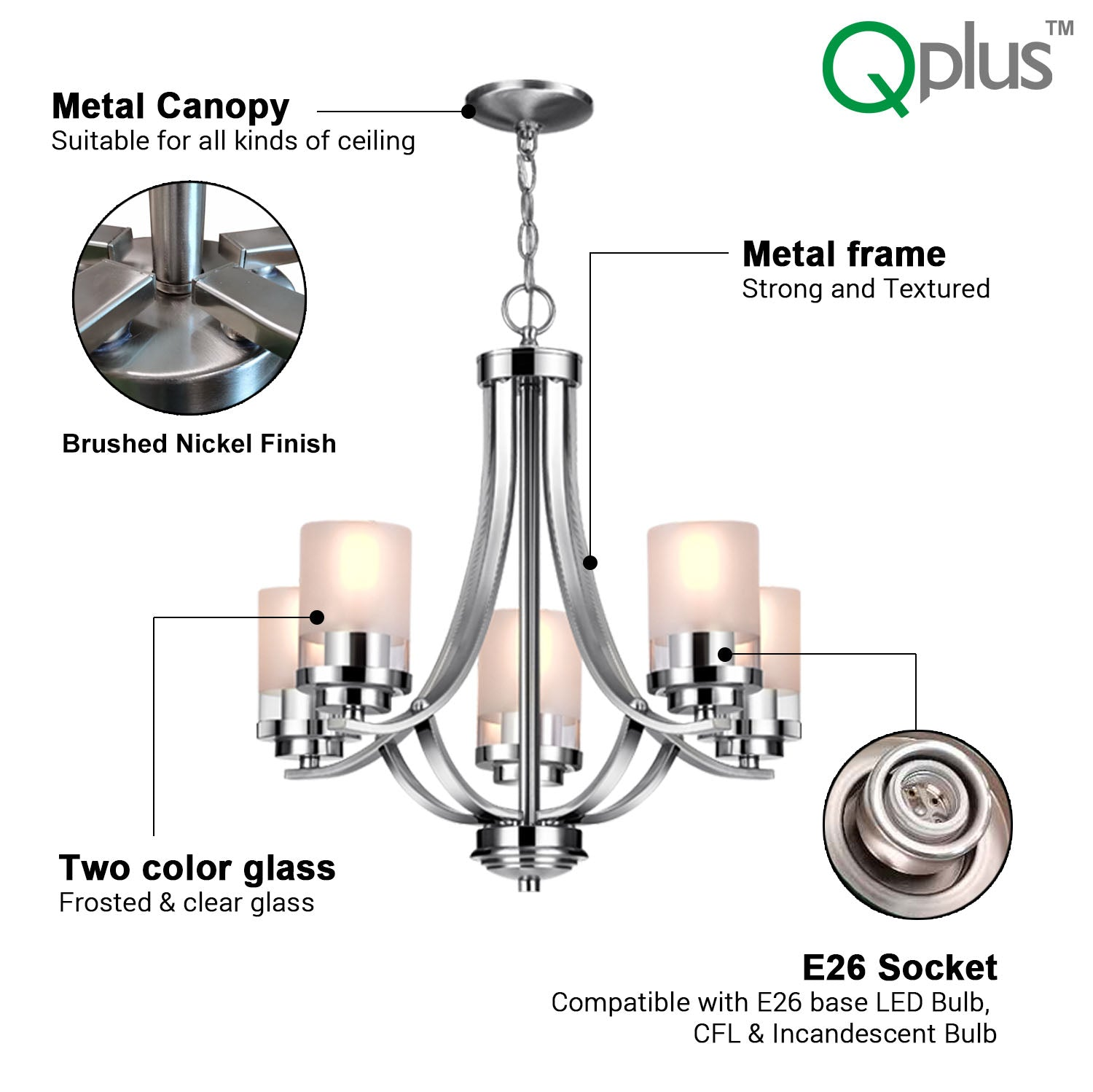 QPlus 5 Light Tulip Chandelier Pendant Lamp with E26 Bulb base & Clear/Frosted Glass Shades - Brushed Nickel / Bronze + 5 A21 LED Bulbs Free