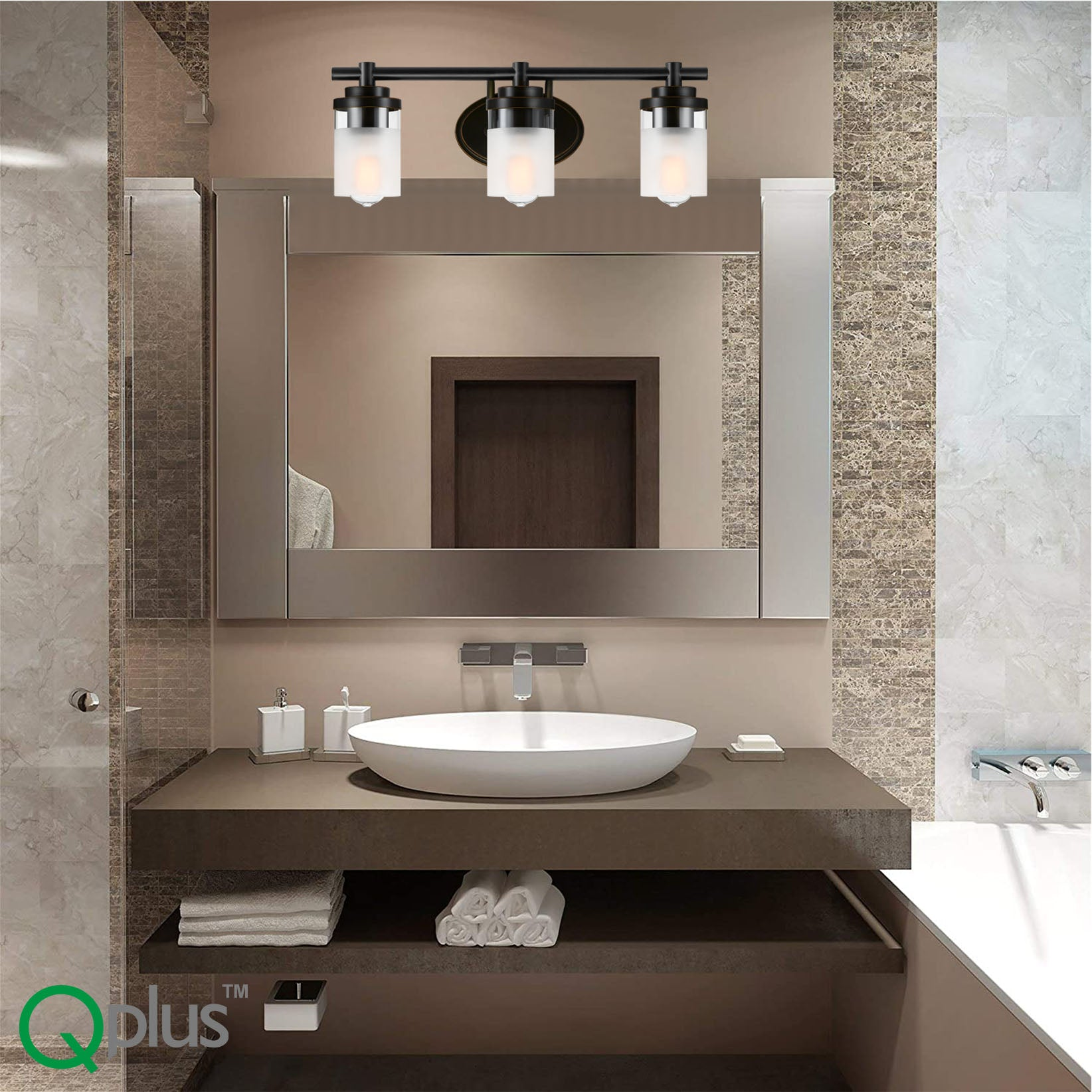 QPlus Bathroom Vanity Wall Light Fixture, 3 Lights with E26 Base & Clear, Frosted Glass shades (Sconces) - Bronze Finish + 3 A21 LED Bulbs Free