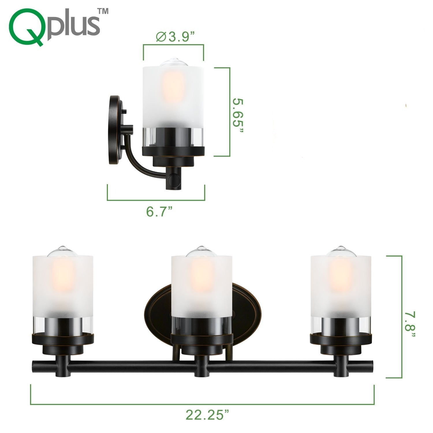 QPlus Bathroom Vanity Wall Light Fixture, 3 Lights with E26 Base & Clear, Frosted Glass shades (Sconces) - Bronze Finish