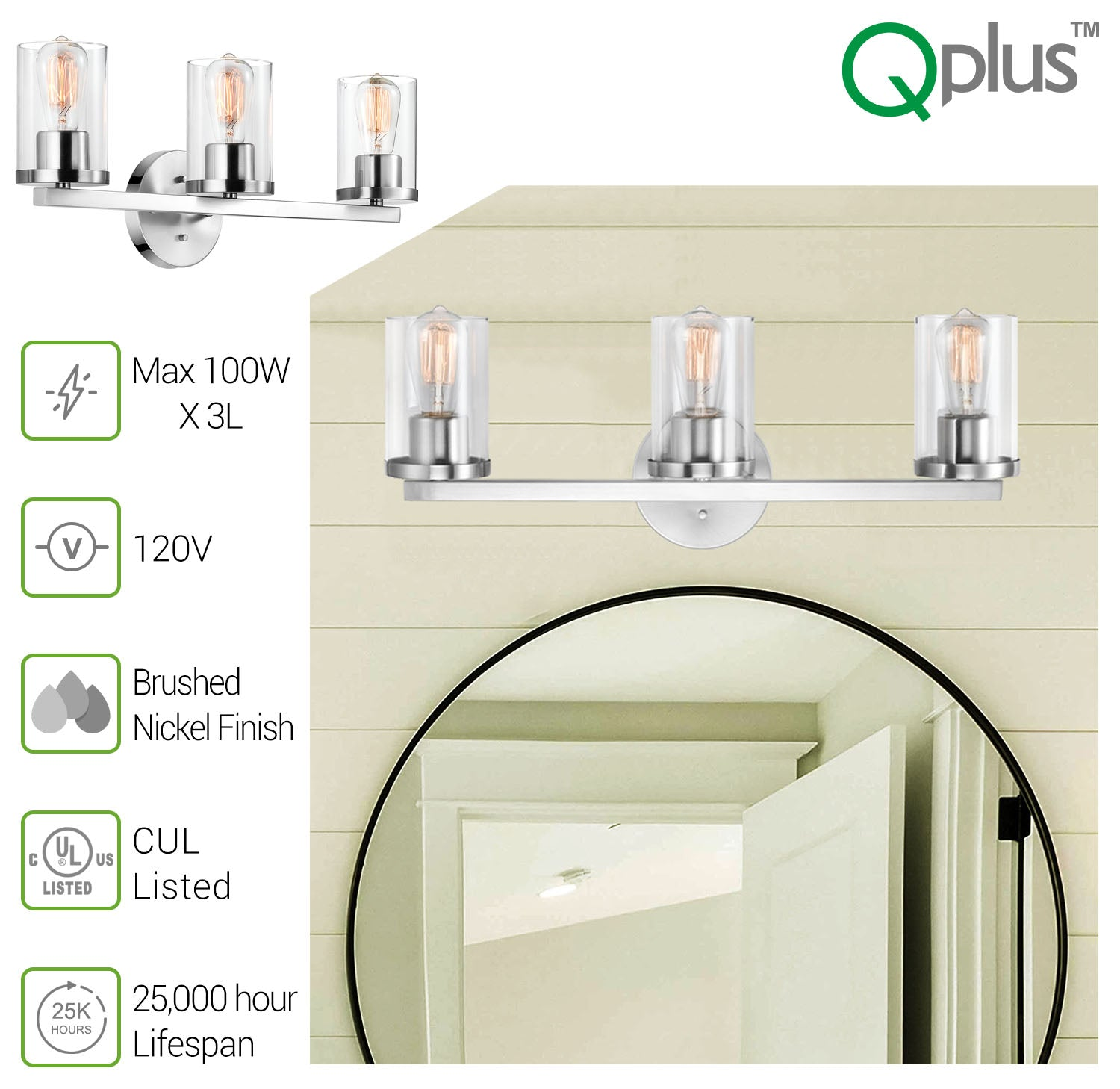 QPlus Bathroom Vanity Wall Light Fixture, 3 Lights in E26 Base & Clear Glass Sconces with Bathroom Accessories - Brush Nickel Finish + A21 LED Bulbs Free