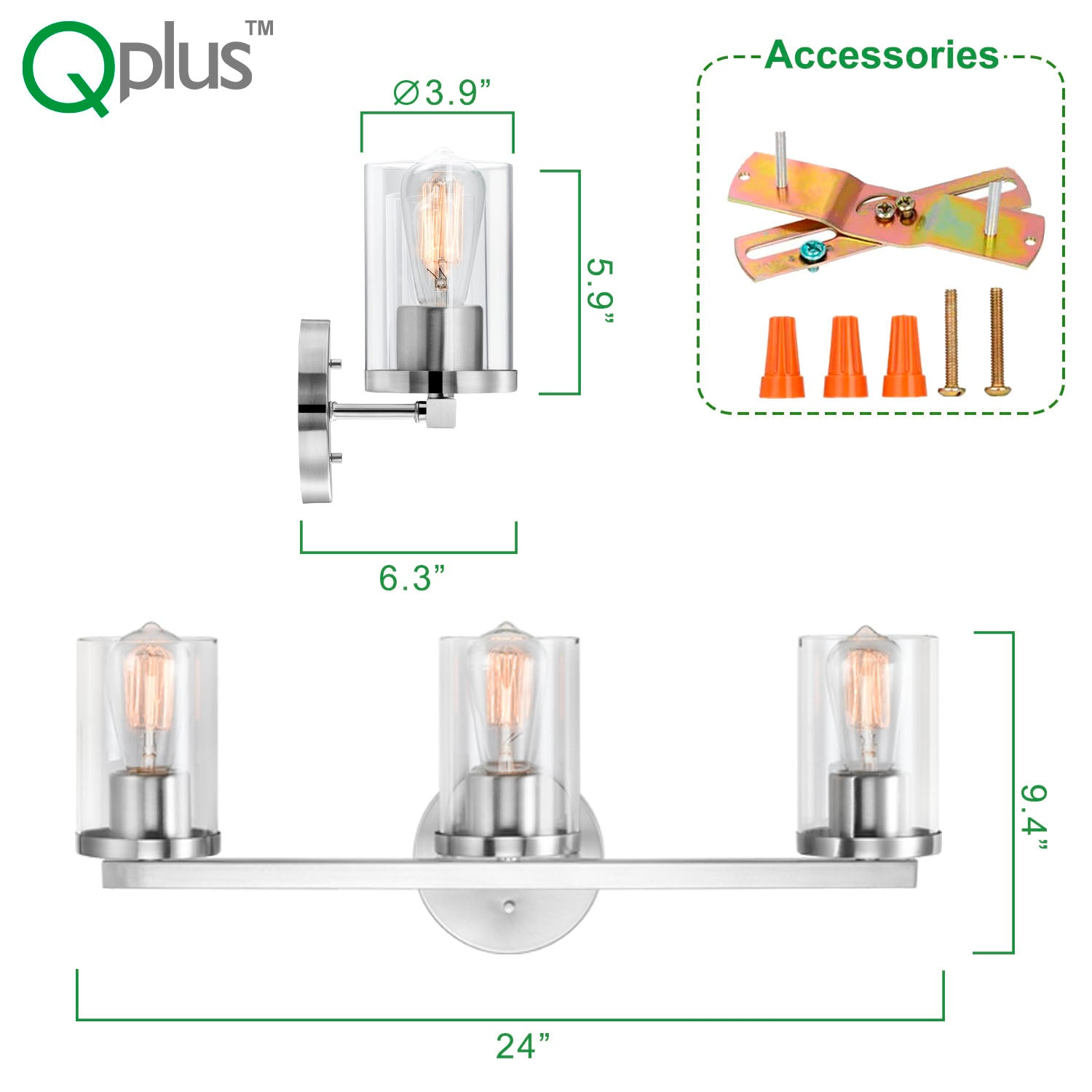 QPlus Bathroom Vanity Wall Light Fixture, 3 Lights in E26 Base & Clear Glass Sconces with Bathroom Accessories - Brush Nickel Finish