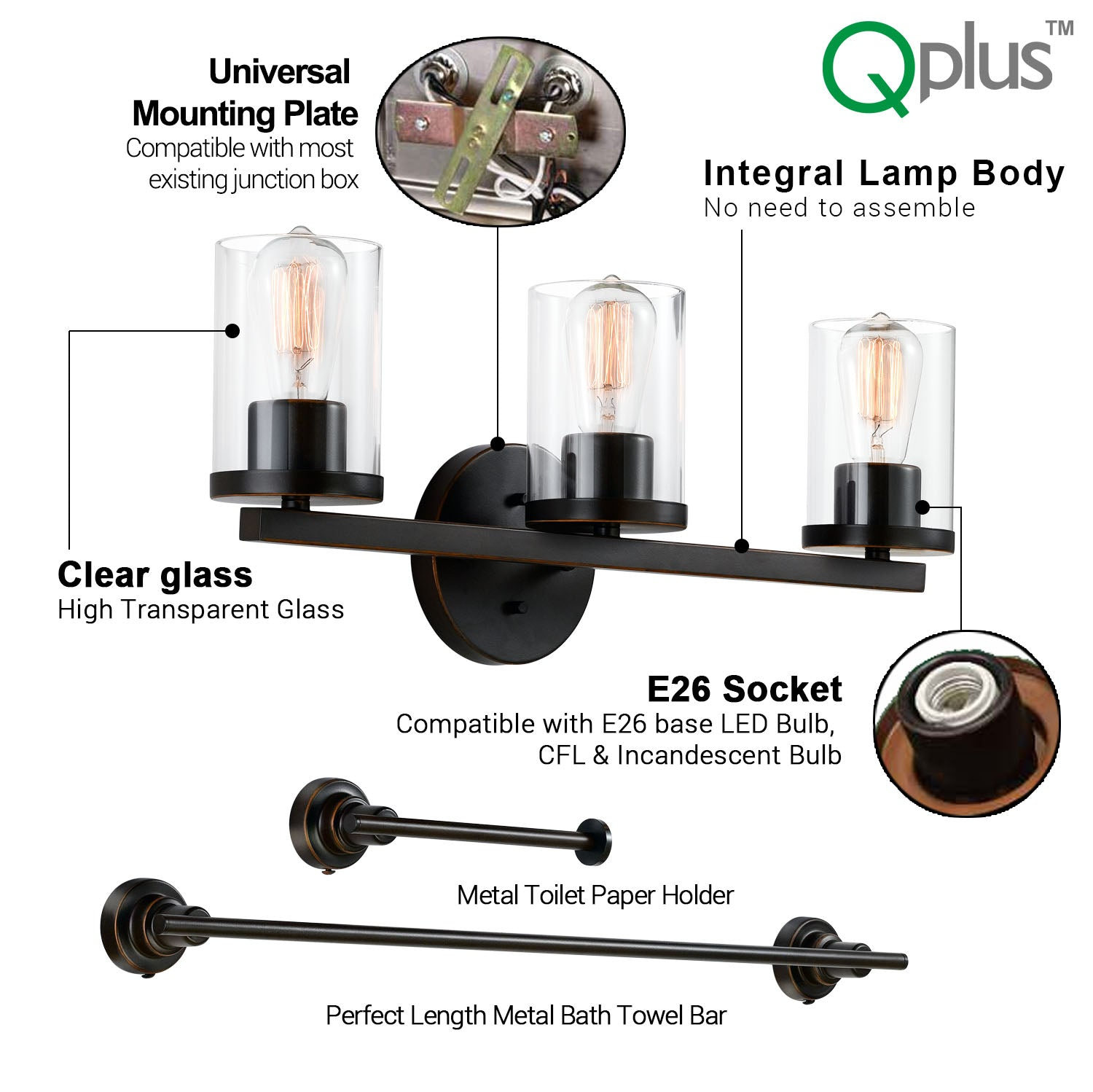 QPlus Bathroom Vanity Wall Light Fixture, 3 Lights in E26 Base & Clear Glass Sconces with Towel Bar & Toilet Paper Holder Accessories - Bronze Finish