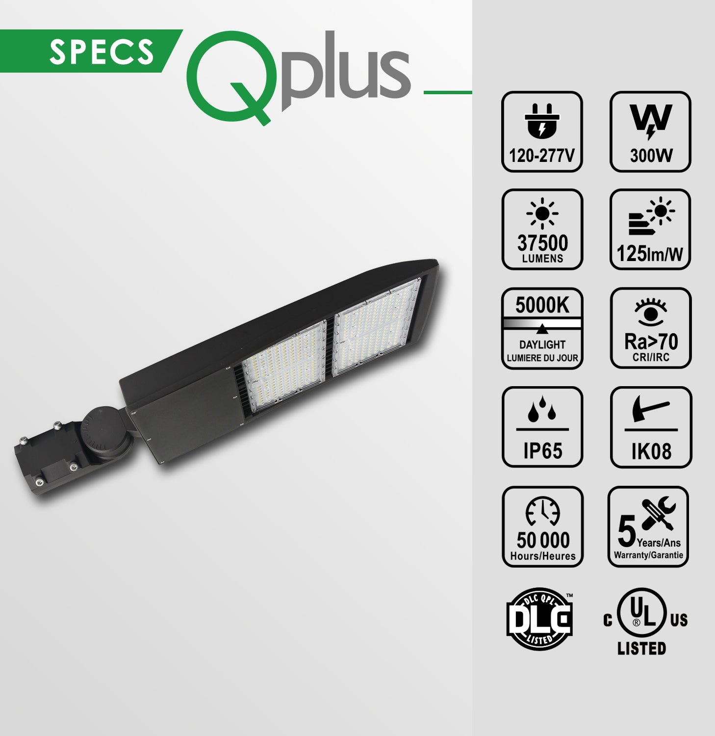 QPlus LED Parking Lot Shoebox Light Pole Fixture Daylight White 5000K in 240W & 300W