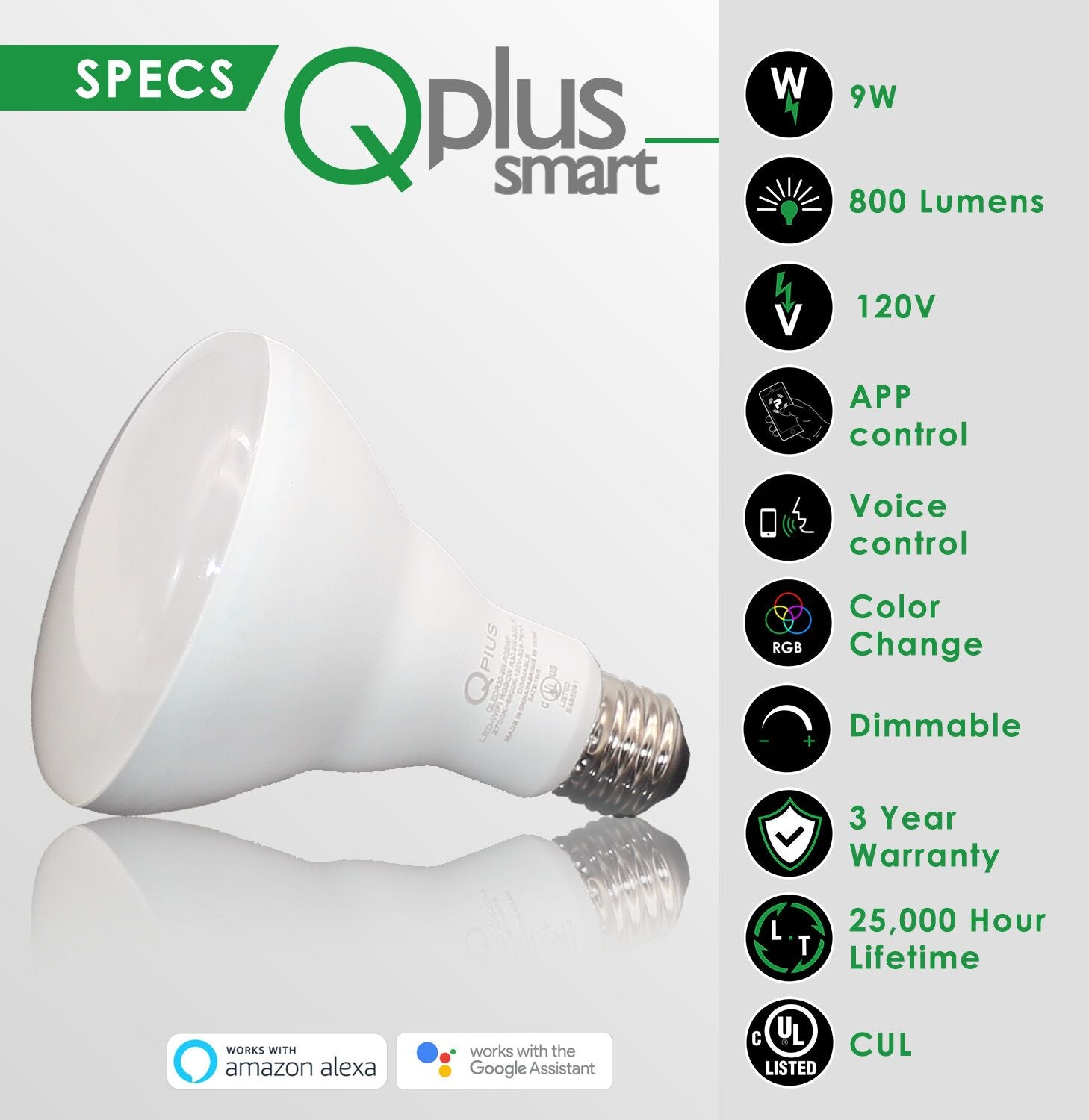 QPlus 9W Smart LED Bulb BR30 (WiFi - No Hub) - RGB Multi Color 16 million colors & Tunable White 2700K to 6500K