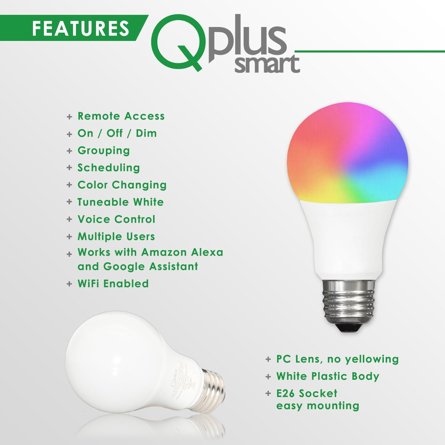 QPlus 9W Smart Light LED Bulb A19 (WiFi - No Hub) - 16 Million colors 2700K to 6500K