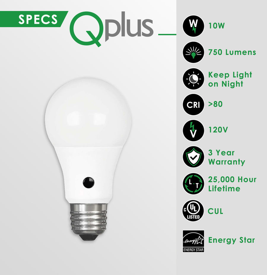 QPlus A19 Photocell LED Light Bulb, Dusk to Dawn - cUL Listed (6Pack)