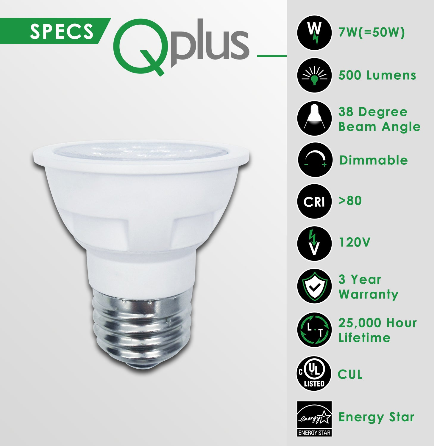 QPlus PAR16 LED Light Bulbs SMD Style