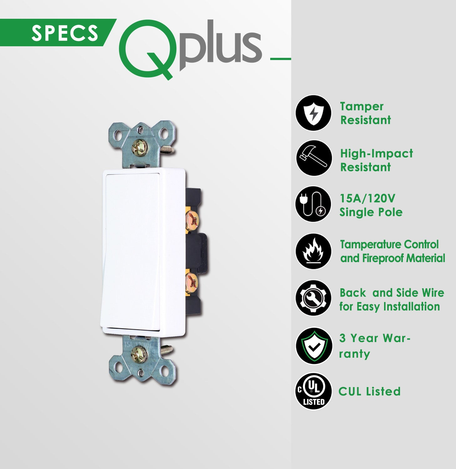 QPlus Single Pole Universal Wall Switch with Wall Plate - cUL & FCC Certified