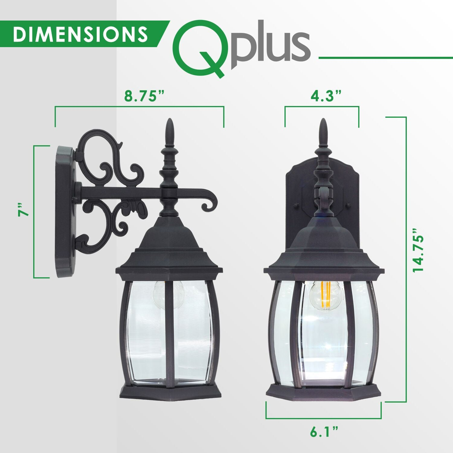 QPlus Porch Wall Lights/ Lanterns Elegant Architectural With Clear Glass Panels - Black/Bronze