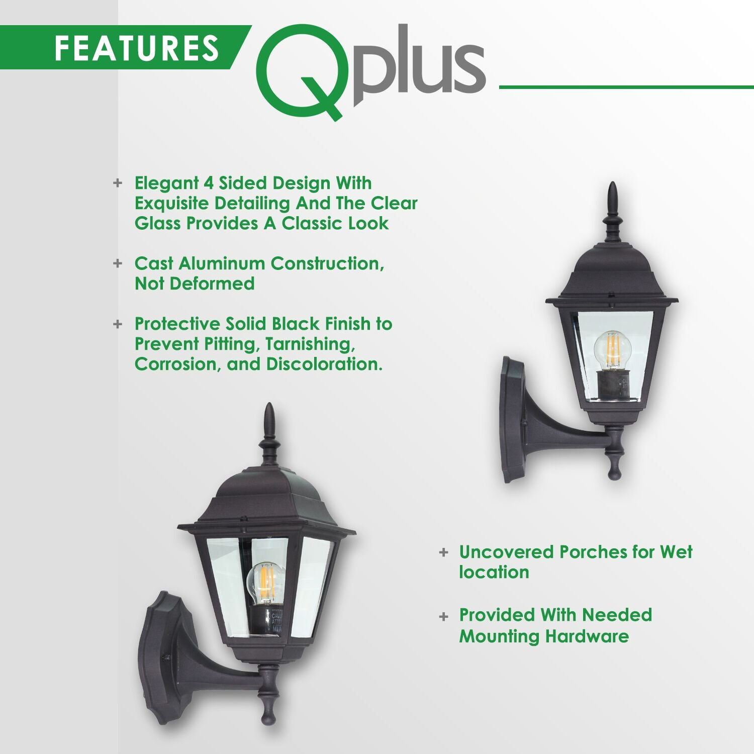 QPlus Porch Wall Lights/Sconce/Wall Lanterns Classic With Clear Glass Panels - Black/Bronze Finish