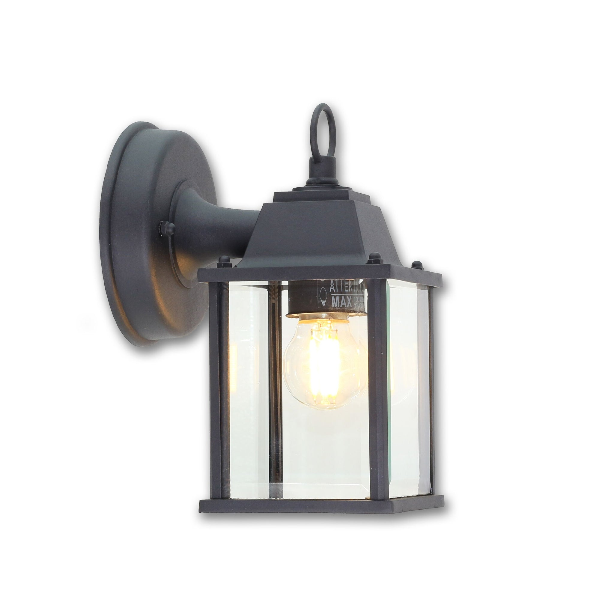 QPlus Porch Wall Lights/Wall Lanterns Simply Superb With Clear Glass Panels - Black/Bronze